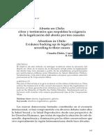 Aborto en Chile. Cifras y Testimonios Que Respaldan La Exigencia de La Legislacion Del Aborto Por Tres Causales