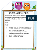 o w l reading lab supply list