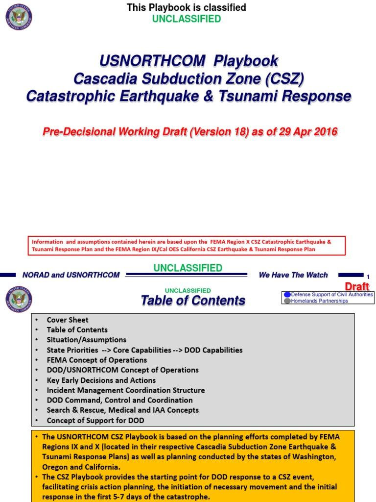 Usnorthcom Csz Playbook_20160421_ver 18 | Federal Emergency