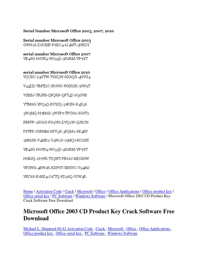 Serial Number Microsoft Office 2003 | Microsoft Office