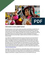 Information on Leh Ladakh Festival