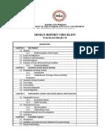Roads Design Report Checklist