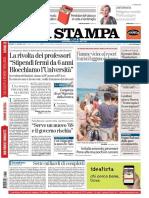 """La rivolta dei professori """"Stipendi fermi da sei anni. Blocchiamo l'Università"""" - La Stampa del 13 luglio 2017"""