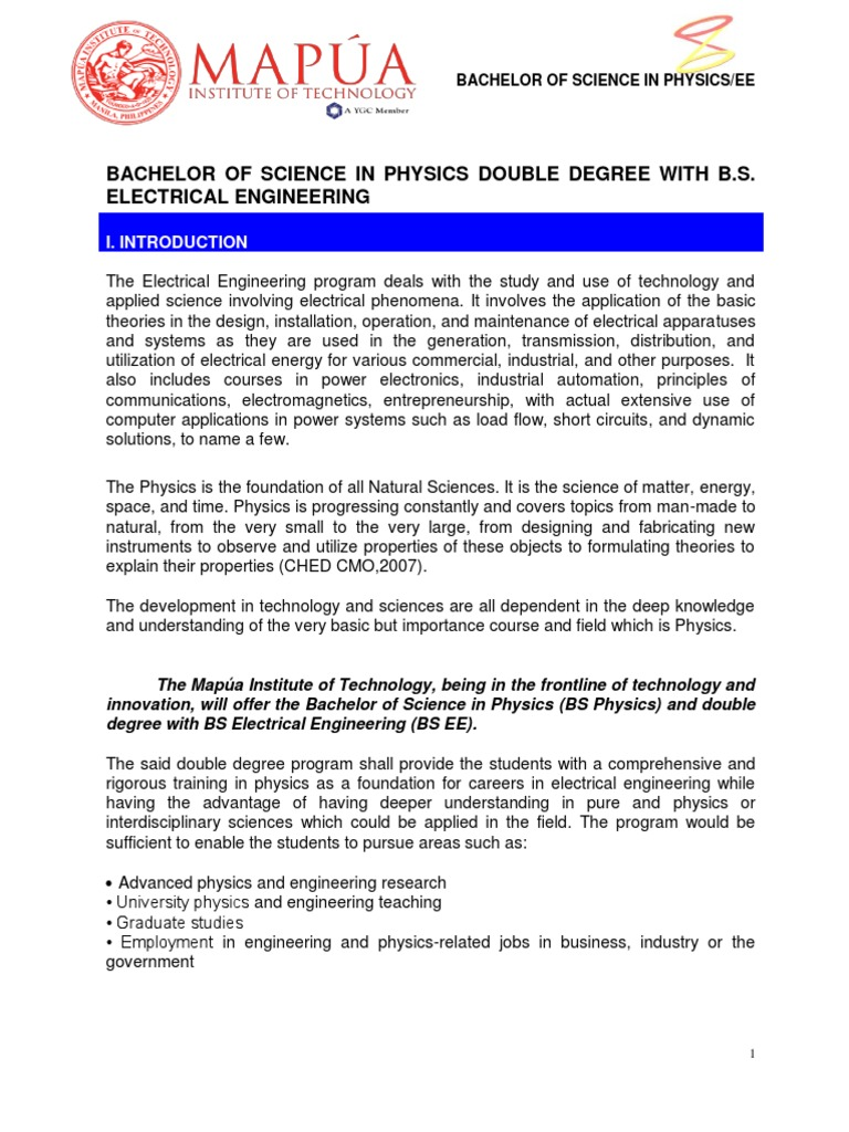 Bs Physics Dgw Ee Program | Engineering | Bachelor Of Science