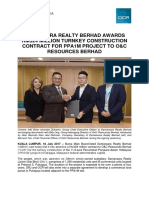Damansara Realty Berhad Awards RM324 Million Turnkey Construction Contract for PPA1M Project to O&C Resources Berhad.