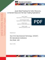 Analyzer Best Practices SRU TGTU