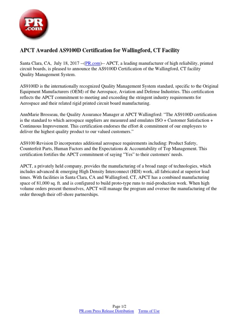 Apct Awarded As9100d Certification For Wallingford Ct Facility