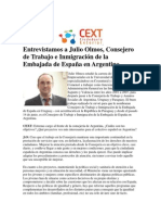 Entrevista a Julio Olmos, Consejero de Trabajo e Inmigración de la Embajada de España en Argentina