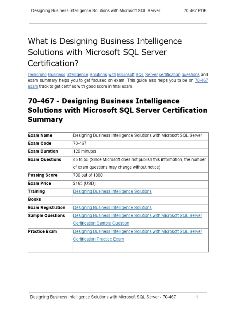 How to prepare for 70 467 exam on designing business intelligence how to prepare for 70 467 exam on designing business intelligence solutions with microsoft sql server microsoft sql server information retrieval xflitez Choice Image
