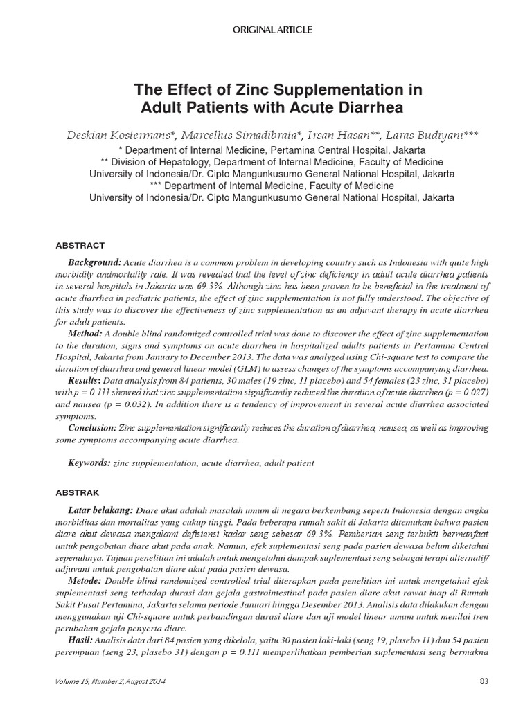 The Effect Of Zinc Supplementation In Adult Patients With Acute