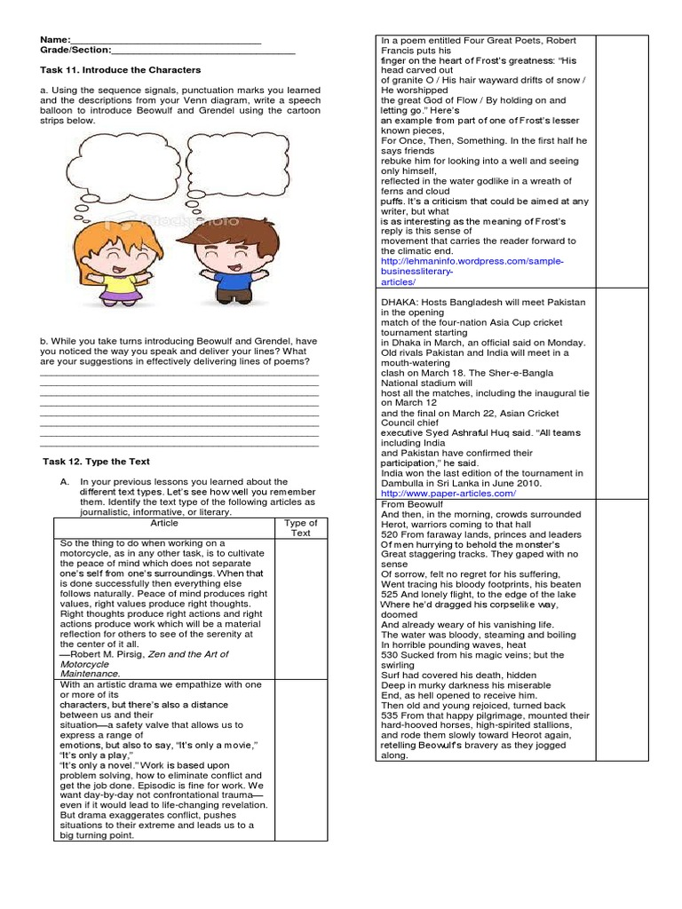 Task 11 introduce the characters english 9 poetry ccuart Images