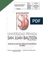Sis-ma-82 Manual de Uso Del Módulo de Matrícula en Línea v 1 0