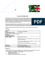 Job Description Monitoring Evaluation Officer Pakkistan