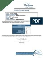GERIZIM - Certificado de Nutricion
