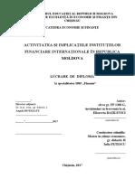 ACTIVITATEA ȘI IMPLICAȚIILE INSTITUȚIILOR FINANCIARE INTERNAȚIONALE ÎN REPUBLICA MOLDOVA