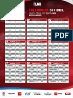 Calendrier  Pro B 2017-2018