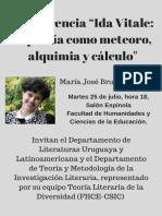 """Conferencia """"Ida Vitale- La Poesía Como Meteoro, Alquimia y Cálculo-.María José Bruña Bragado"""