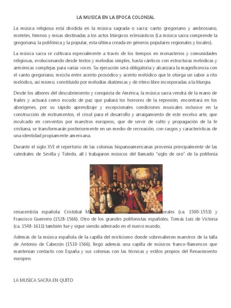 La Musica En La Epoca Colonial Musica Religiosa Canto Gregoriano