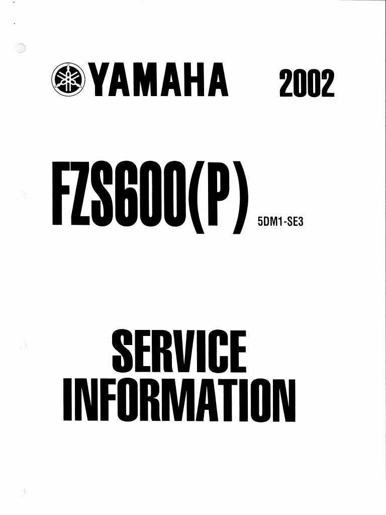 Yamaha Fazer FZS600(P) 2002 Supplementary Service Manual