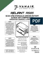 VanAir Compressor Parts Manual Reliant