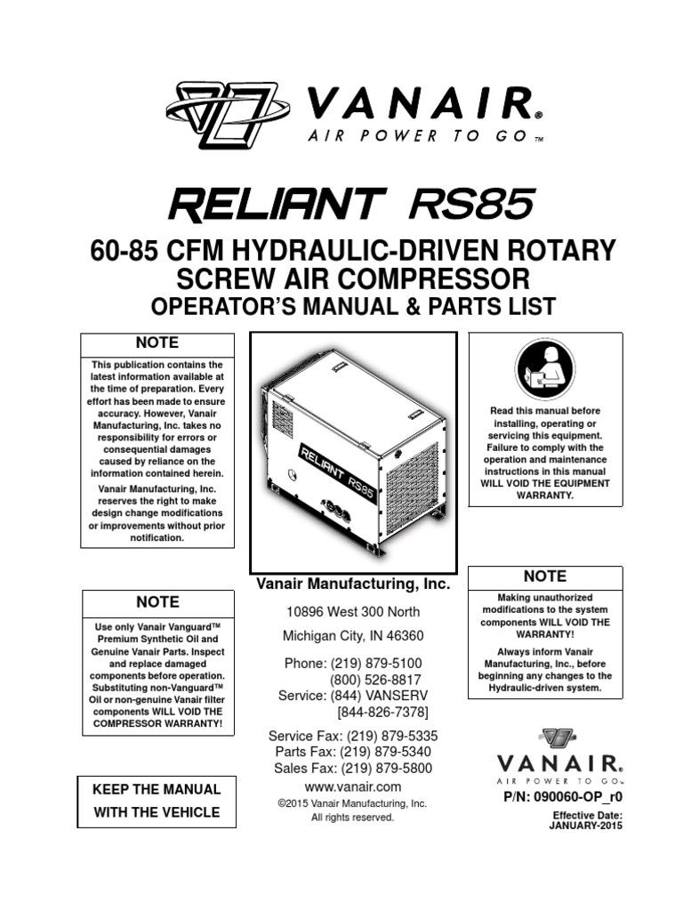60-85 Cfm Hydraulic-Driven Rotary Screw Air Compressor