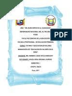 Monografía de Educación en Valores en el Perú