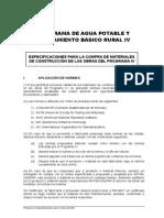 Especificaciones Para La Compra de Materiales de Construcción de Las Obras Del Programa IV