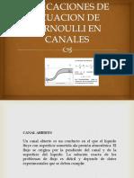 Aplicaciones de Ecuacion de Bernoulli en Canales
