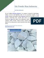 Supplier of Talc Powder Riau Indonesia