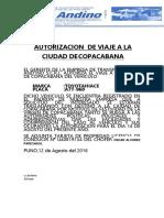 Autorizacion de Viaje a La Ciudad de Copacabana