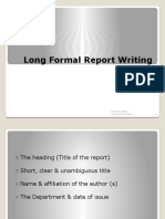 Long Formal Report Writing