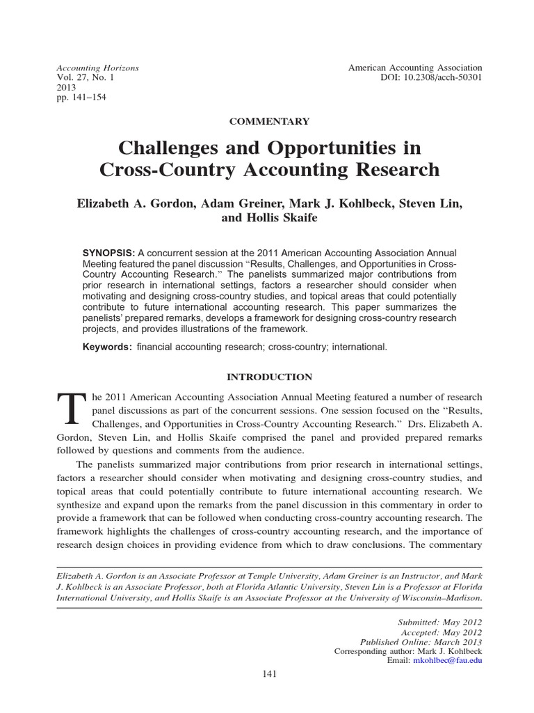 Challenges and Opportunities in Cross-Country Accounting Research ...