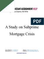 A Study on Subprime Mortgage Crisis