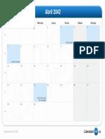 Calendario Abril 2042