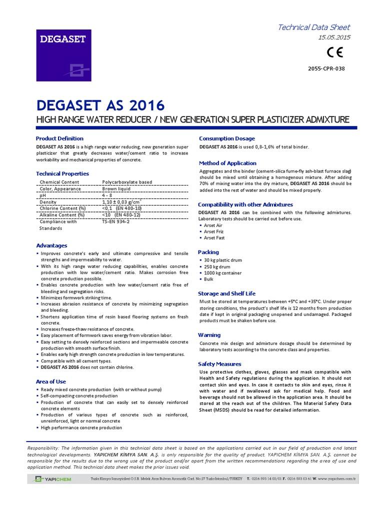 Degaset as 2016 (Tds-En) | Concrete | Composite Material