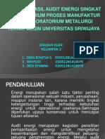 PPT Hasil Audit Energi Singkat Manajemen Energi Kelompok 2 Kampus Indralaya