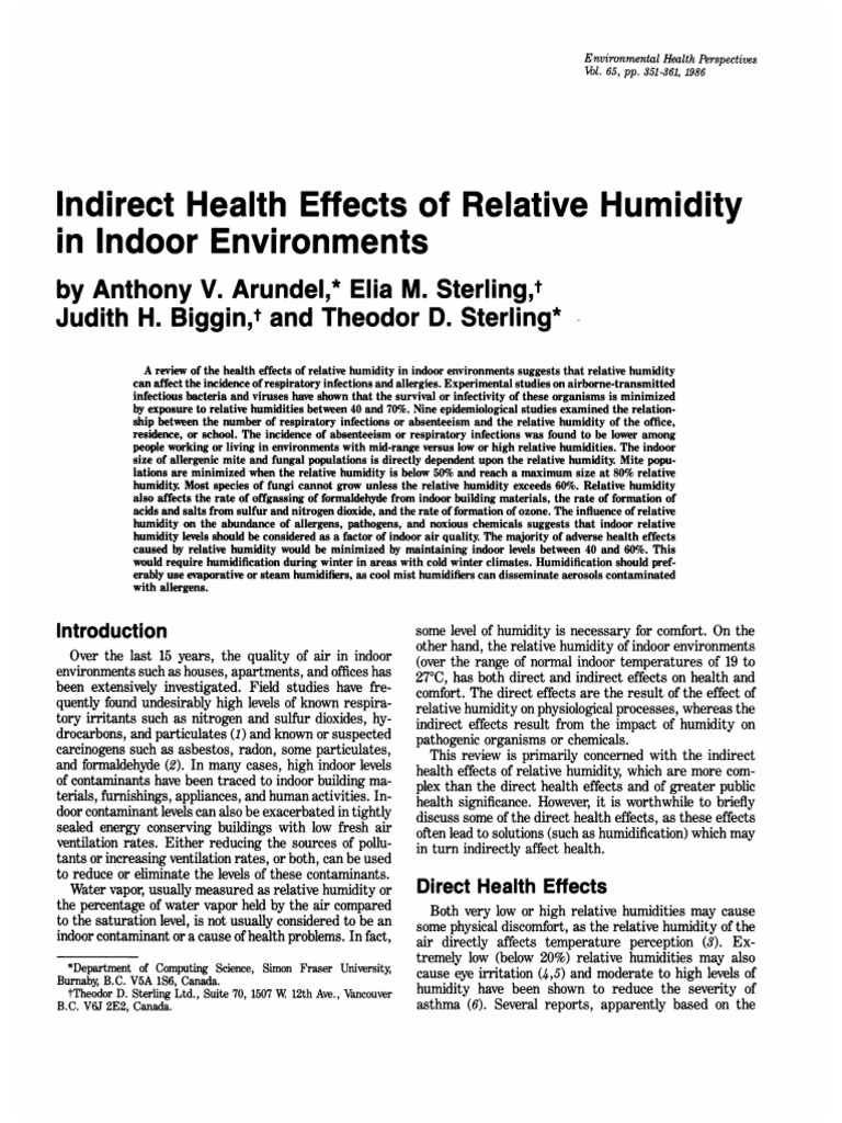 Indirect Health Effects Of Relative Humidity In Indoor Environments