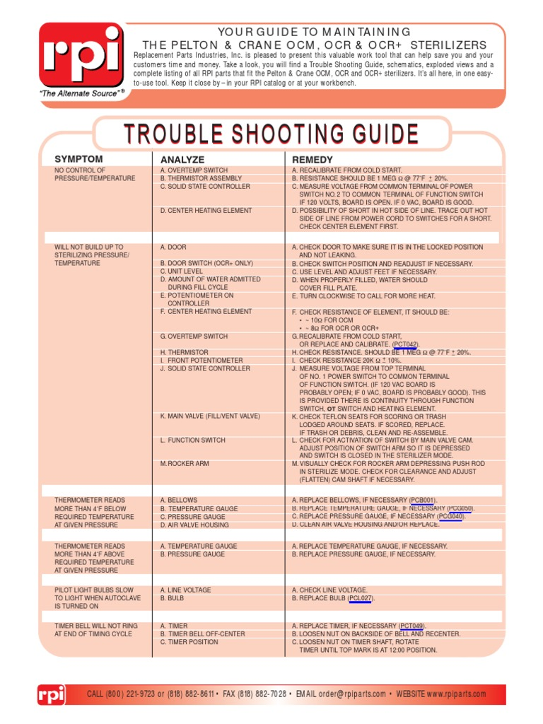 Pelton Crane OCM OCR Sterilizer Service Manual