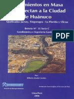 Movimientos en Masa Que Afectan a La Ciudad de Huánuco