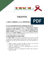 Carta Abierta Ministra de Salud de Bolivia sobre Carga Viral
