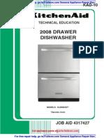 KitchenAid (not Fisher Paykel-built) 2008 Drawer Dishwasher Service Manual 4317427