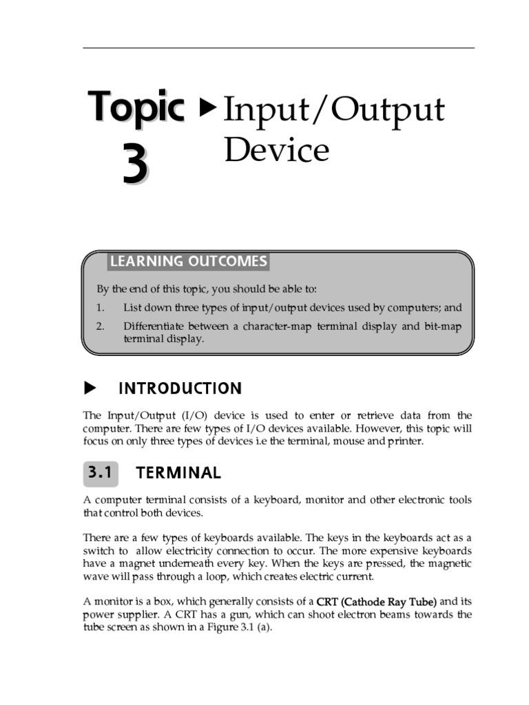 INPUT OUTPUT DEVICE   Printer (Computing)   Computer Terminal
