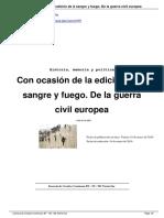 Con Ocasión de La Edición de a Sangre y Fuego. de La Guerra Civil Europea. Ent Enzo Traverso