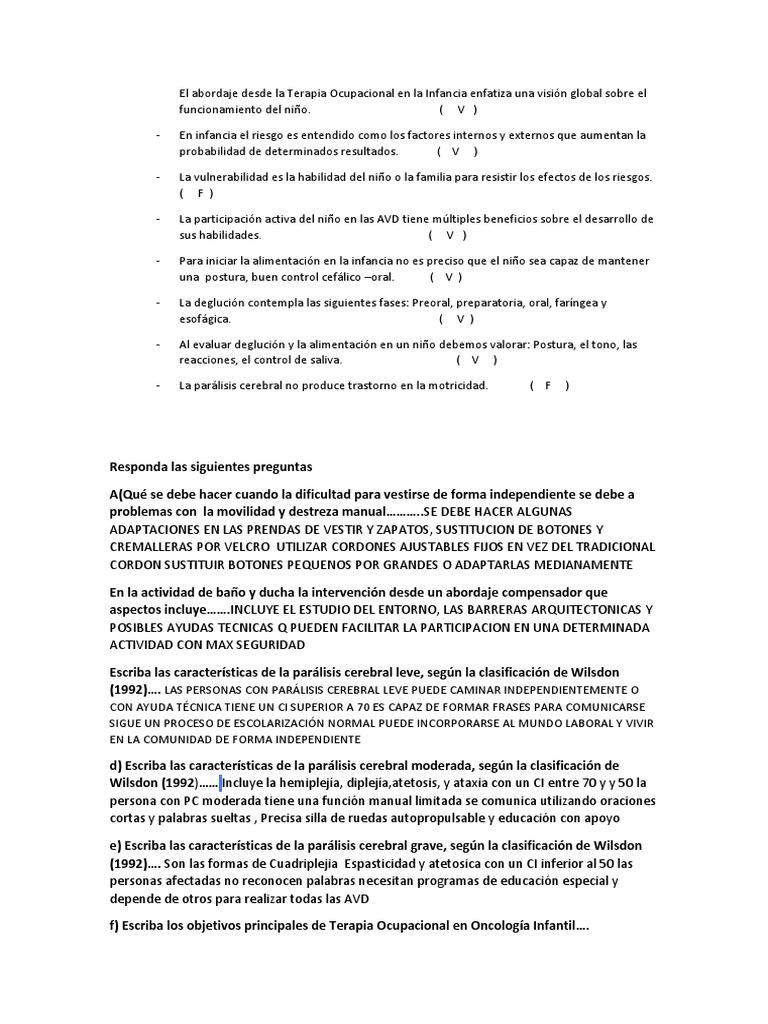 Examen De Avd Parálisis Cerebral Esquizofrenia