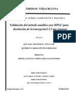Validacion de Metodo Disolucion Hplc