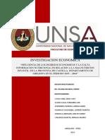 Influencia de Los Ingresos Economicos y La Falta de Informacion Nutricional en Relacion a La Malnutricion Infantil en La Provincia de Castilla Departamento de Arequipa en El Periodo 2005 2014