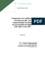 Comparativo Ra Resistência à Corrosão (Polarização)