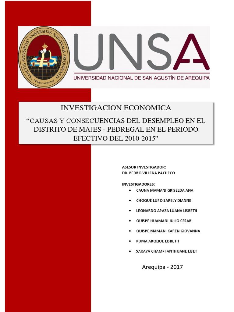 Causas y Consecuencias Del Desempleo en El Distrito de Majes-El Pedregal