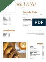 Homeland Cafe Menu