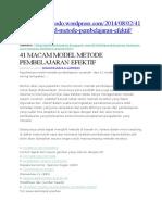 41 Macam Model Metode Pembelajaran
